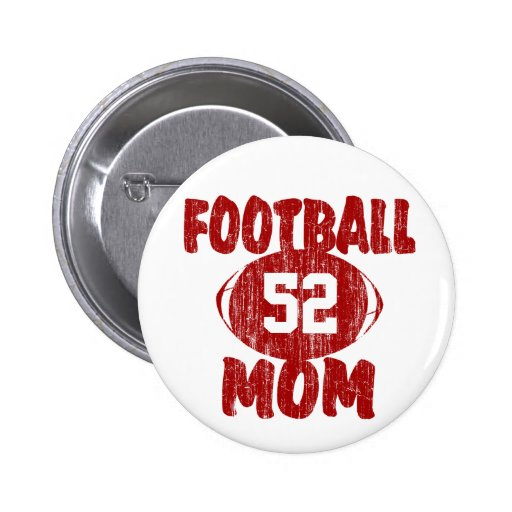 Football Mom Red Pinback Button