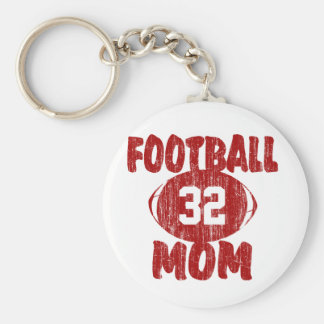Football Mom Red Basic Round Button Key Ring