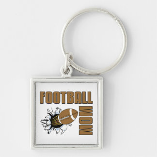 Football Mom Silver-Colored Square Key Ring