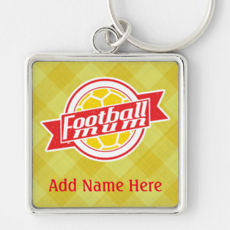 Football Mum Customisable Keyring Silver-Colored Square Key Ring