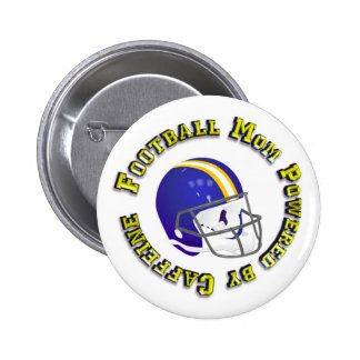Football Mum Powered by Caffine Pinback Buttons