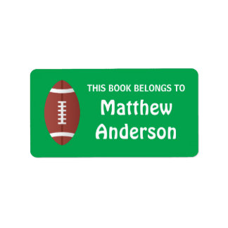 Football on green background bookplate address label