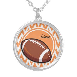 Football Orange and White Chevron Pendant