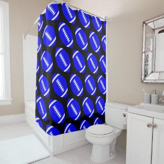 Football Player or Coach Blue Footballs Bathroom Shower Curtain