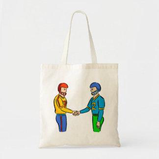 Football Players Handshake Canvas Bags