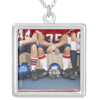 Football Players on Bench 2 Silver Plated Necklace