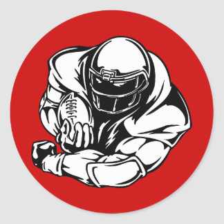 FOOTBALL QUARTERBACK LINEBACKER SPORTS ATHLETIC ROUND STICKER