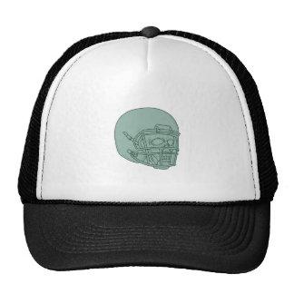 Football Quarterback Skull Drawing Cap