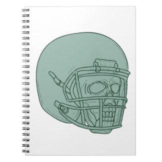 Football Quarterback Skull Drawing Notebook