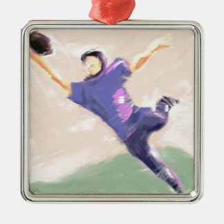 Football Receiver Art Silver-Colored Square Decoration