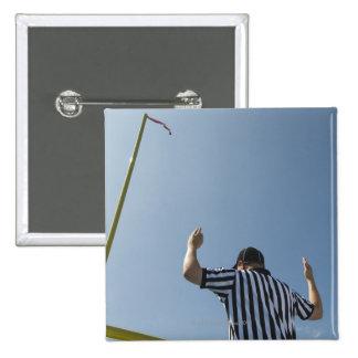 Football referee calling field goal 15 cm square badge