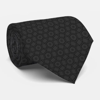 football shaped circles patterned gray and black tie