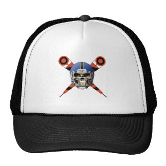 Football Skull with Helmet and Yard Markers Mesh Hat