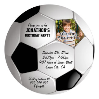 Football Soccer Ball Photo Birthday Party 13 Cm X 13 Cm Square Invitation Card