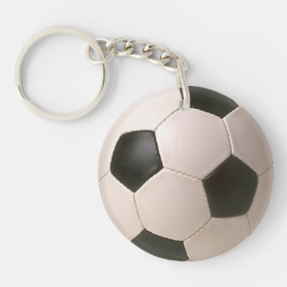 Football Soccer Ball Zipper-pull, ID Tag Single-Sided Round Acrylic Key Ring