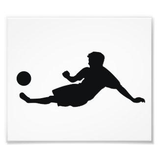 Football Soccer Black Silhouette Photographic Print