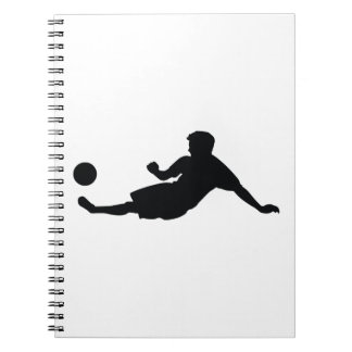 Football Soccer Black Silhouette Spiral Notebook
