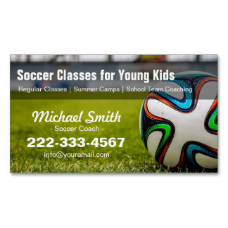 Football / Soccer Classes Coach Stylish and Unique Magnetic Business Cards