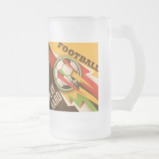 Football Soccer Sport Ball Frosted Glass Beer Mug
