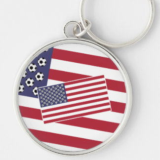 Football Soccer Stars and Stripes Flag Silver-Colored Round Key Ring