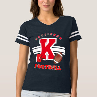 Football Sport Red Letter, Name and Number T-Shirt