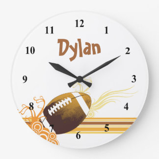 Football Sports Ball Game Personalized Name Large Clock
