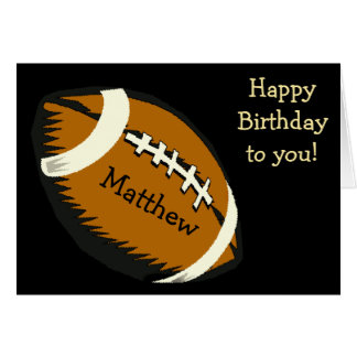 Football Sports Black and Brown Birthday Card