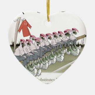 football-substitutes red teams ceramic ornament