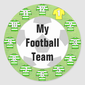 Football Team Stickers with Green Hooped Shirts
