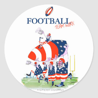 Football team work, tony fernandes round sticker