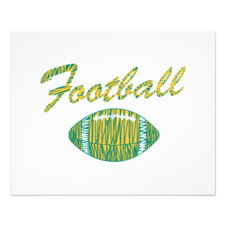 football text and ball orange gold and green 11.5 cm x 14 cm flyer