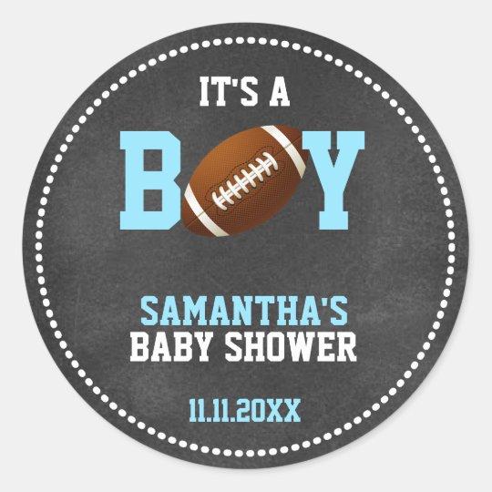 Football Theme Baby Shower Chalkboard Boy Round Sticker