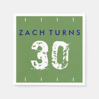 Football Theme Birthday Napkins - Green Blue Paper Napkin