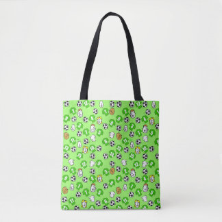 Football themed bag with shirts in green