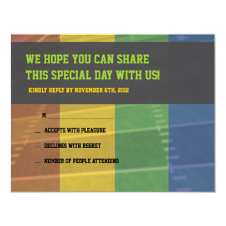 Football Themed Bar Bat Mitzvah Reply Card Personalized Announcement