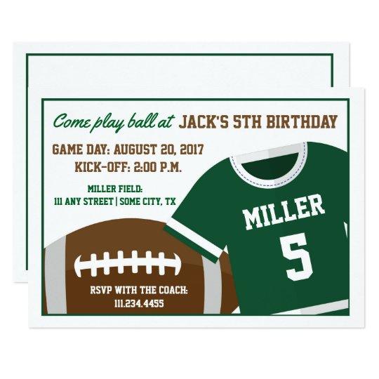 Football Themed Birthday Invite