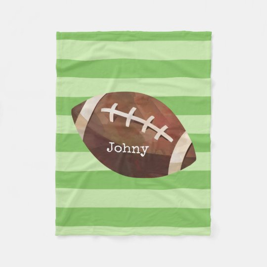 Football Themed Custom Name Striped Fleece Blanket