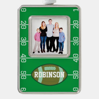 Football Themed Family Picture Personalized Silver Plated Framed Ornament
