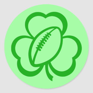 Football Three Leaf Clover for St. Patrick's Day Round Stickers