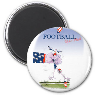 Football touch down, tony fernandes 6 cm round magnet