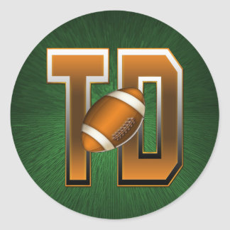 Football Touchdown TD Round Sticker