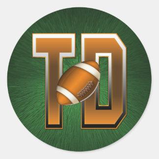 Football Touchdown TD Round Sticker