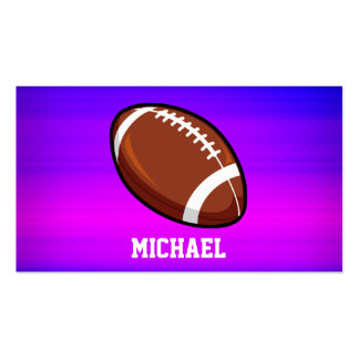 Football; Vibrant Violet Blue and Magenta Double-Sided Standard Business Cards (Pack Of 100)