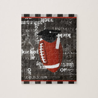 Football wearing Graduation Cap, Football Words Jigsaw Puzzle