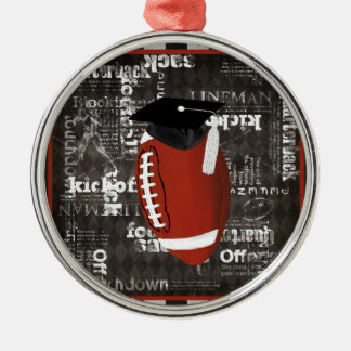 Football wearing Graduation Cap, Football Words Silver-Colored Round Decoration