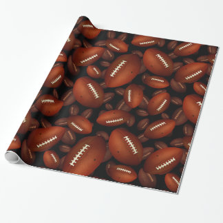 Footballs pattern wrapping paper