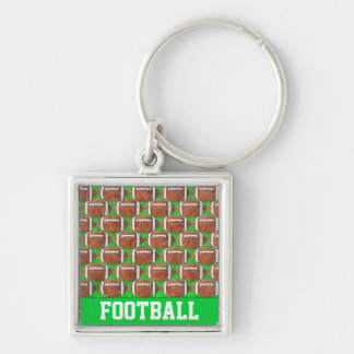 FOOTBALLS Silver-Colored SQUARE KEY RING
