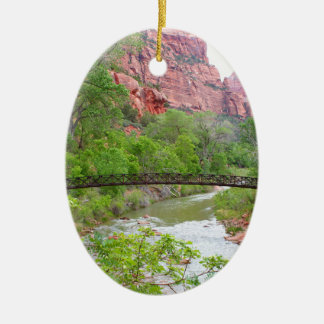 Footbridge across the Virgin River Ceramic Ornament