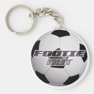 Footie Football Nut Basic Round Button Key Ring