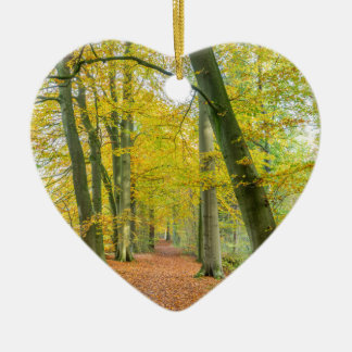 Footpath in forest covered with fallen leaves ceramic heart decoration